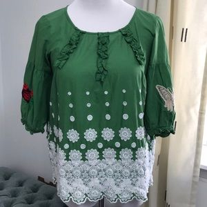 Anthropologie odd Molly embroidered top
